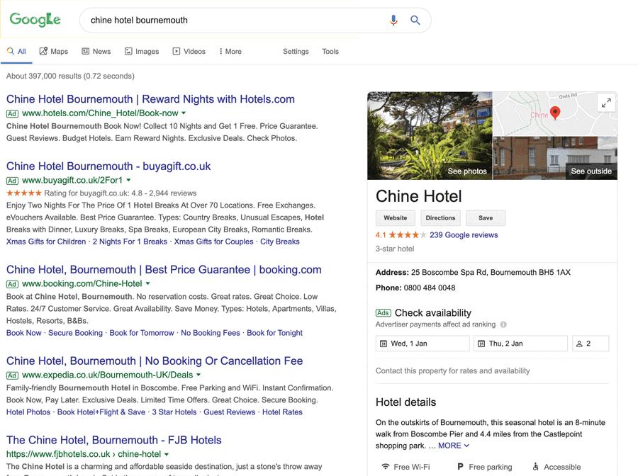 "Google results: ""Chine Hotel Bournemouth"""